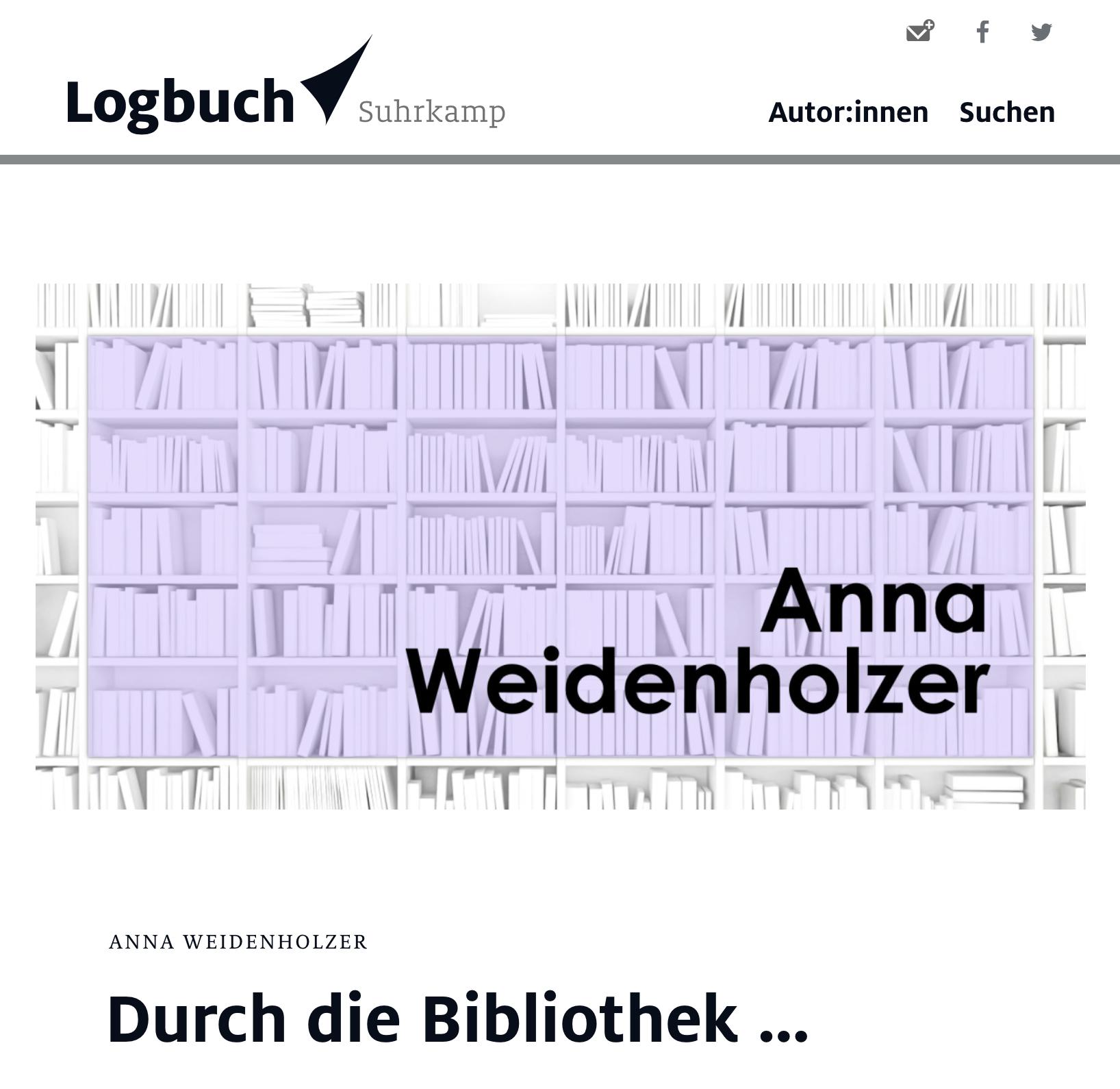 Logbuch Surkamp Berlin Anna Weidenholzer