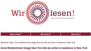 Anna Weidenholzer bloggt über ihre Zeit als writer-in-residence in New York