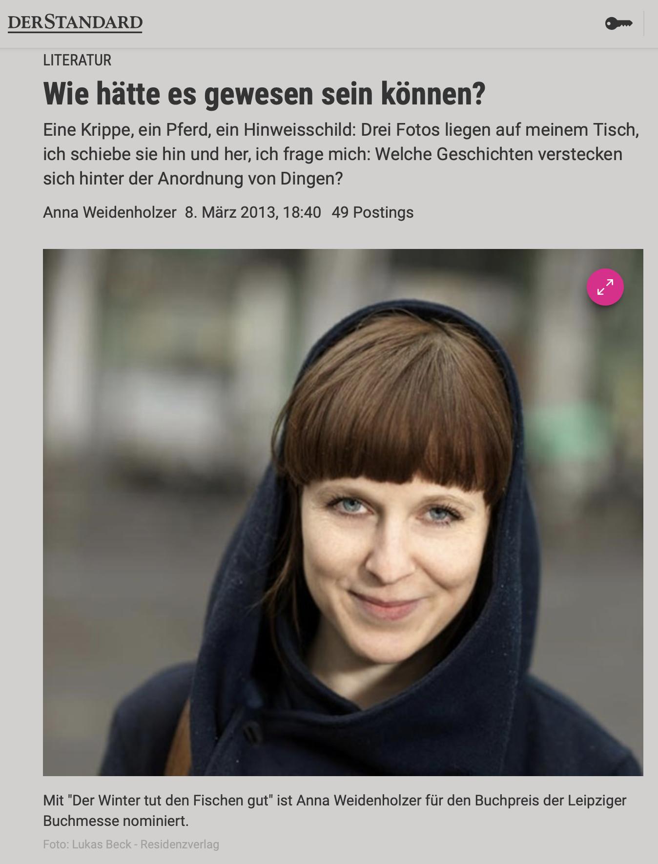 Anna Weidenholzer in Der Standard